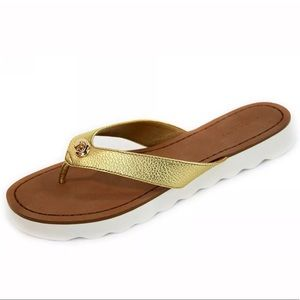 Coach | Shelly gold flip flop leather sandal